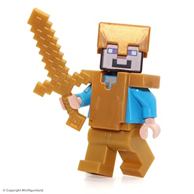 LEGO Minecraft MiniFigure - Steve (with Pearl Gold Helmet, Armor and Legs) 21127: Toys & Games