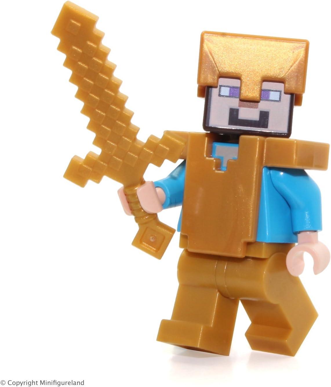 LEGO Minecraft MiniFigure - Steve (with Pearl Gold Helmet, Armor and Legs) 21127