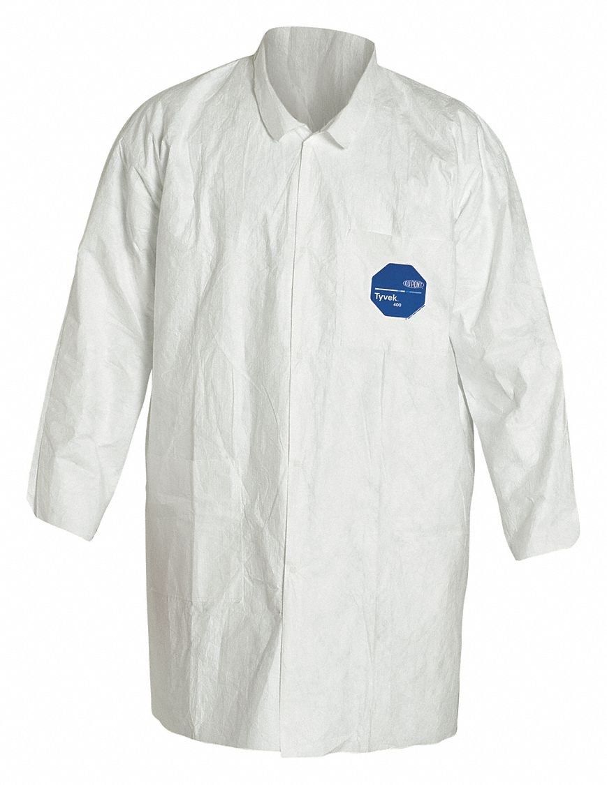 White Tyvek PK8 Disp Lab Coat XL R