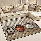 ALAZA 3D Basketball Baseball Soccer Area Rug Rugs for Living Room Bedroom 7'x5'