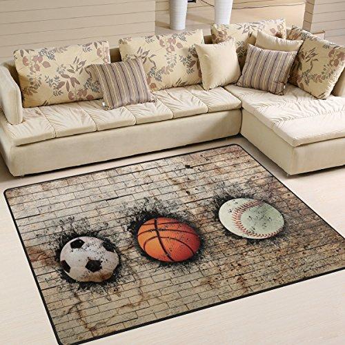 Large Basketball Area Rug: Amazon.com: ALAZA 3D Basketball Baseball Soccer Area Rug