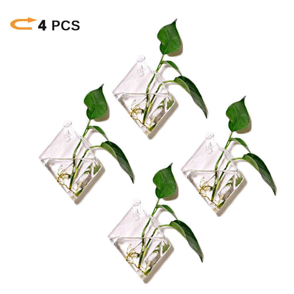Pack of 4 Diamond Wall Hanging Clear Glass Terrariums For Planter - Heat Resistant,Handmade,High Borosilicate -Diamond Air Plants Succulent Container - Suitable for Home, Office and Special Occasion.