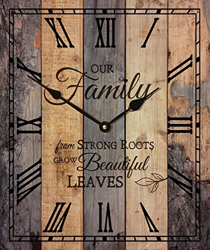 Our Family Strong Roots Beautiful Leaves Vintage Wood Look Wall Clock