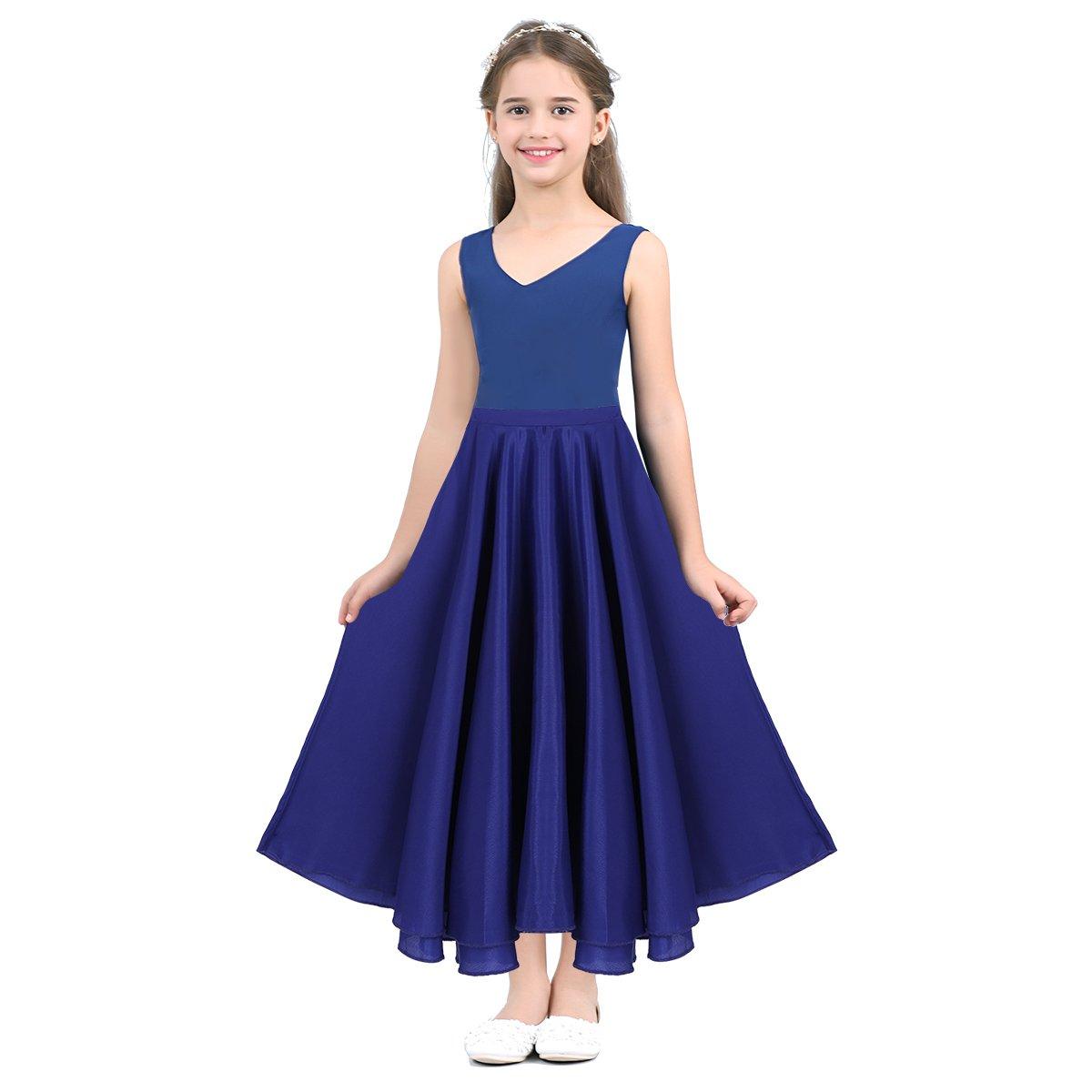 IEFIEL Larga Falda de Danza Nina Infantil Disfraz de Baile Flamenco sevillanas Tango Vals Bailarina para Ni/ñas Chicas 6-14 A/ños