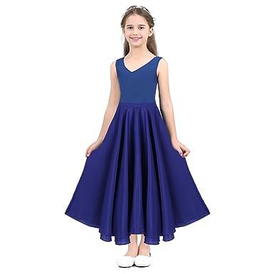 IEFIEL Larga Falda de Danza Nina Infantil Disfraz de Baile Flamenco sevillanas Tango Vals Bailarina para Niñas Chicas 6-14 Años