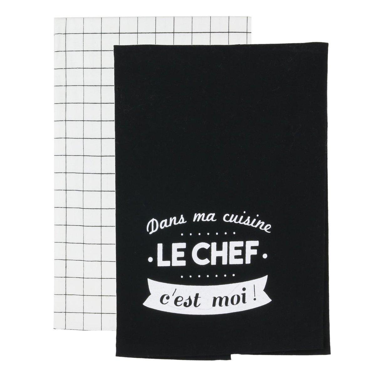 Q1689 - Set de Gant, manique et torchons Messages Noir Blanc Les Tr/ésors De Lily dans la Cuisine Le Chef Cest Moi !