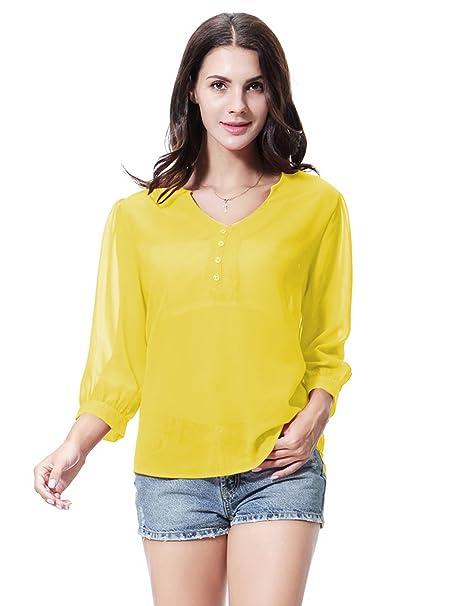 GladThink Mujer Vestido Blusa de chifón con cuello en V Amarillo S