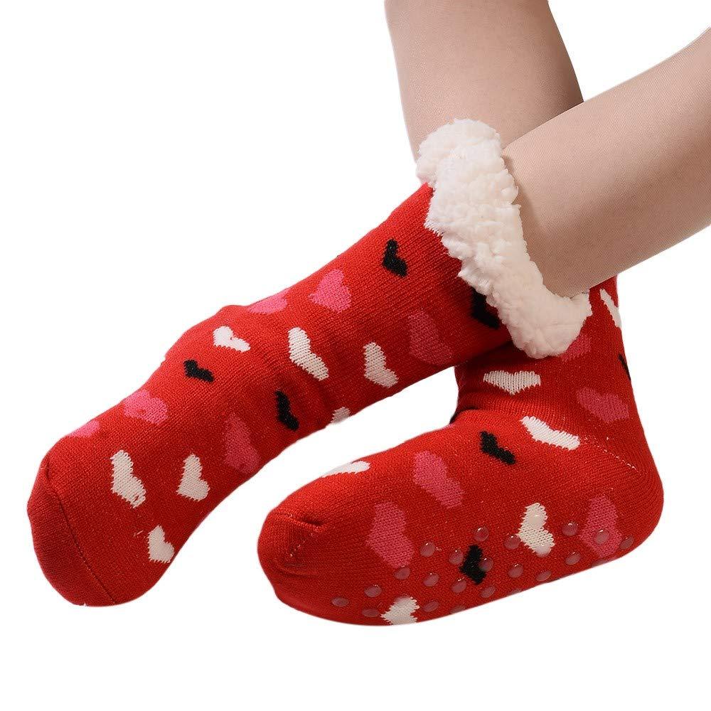 Christmas Sock,Women's Cotton Xmas Printed Thicker Anti-Slip Floor Socks Carpet Stocking  (Free Size, Red)