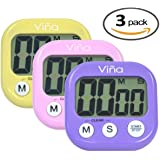 Set of 3, Vina Digital Kitchen Alarm Clock with Countdown Timer, Large LCD Display, Buttons for Minutes and Seconds, Start and Stop, Magnet and Tabletop Stand, Purple Pink Yellow