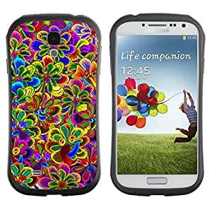 "Hypernova Slim Fit Dual Barniz Protector Caso Case Funda Para SAMSUNG Galaxy S4 IV / i9500 / i9515 / i9505G / SGH-i337 [Vibrante primavera púrpura violeta amarillo""]"
