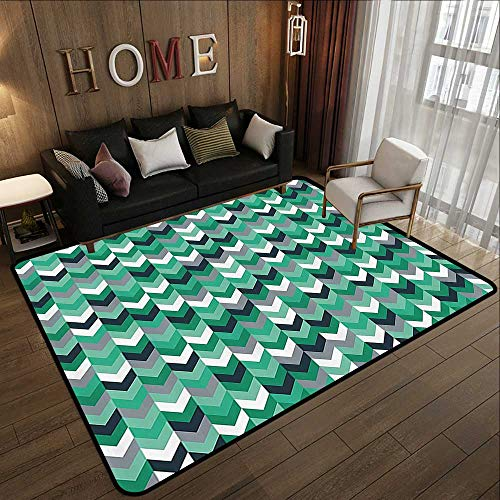 Rugs,Chevron,Arrow Symmetric Zig Zag Lines in Mix Featured Abstract Image,Dimgrey Forest Green Seafoam 47