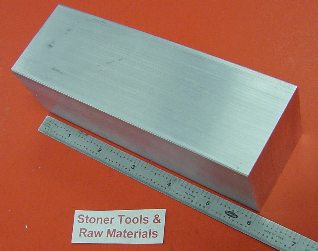 2'' X 2'' 6061 Square Aluminum Solid Flat BAR 6'' Long +.1''/-0 T6511 New Mill Stock by Stoner Metals