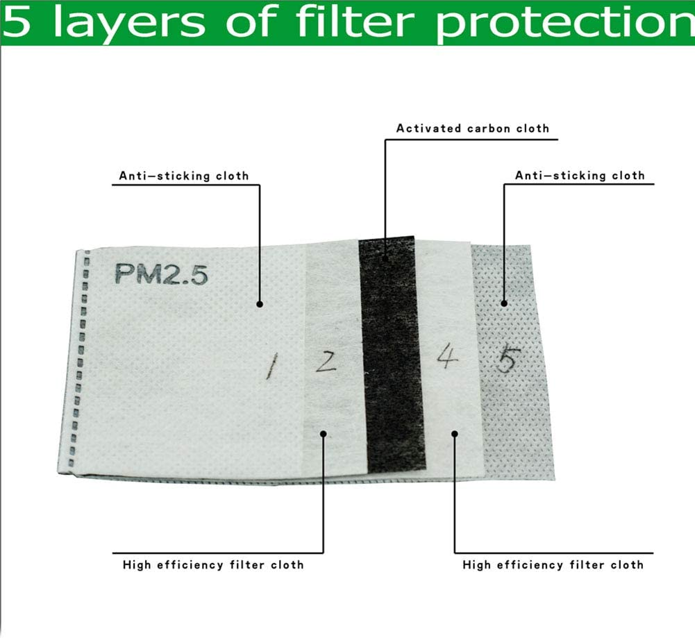 50 PCS PM2.5 Activated Carbon Filters Replacement Insert Face Dust Protection Filter 5 Layers/for Adult Outdoor Anti Haze