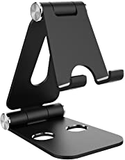 Simpeak Tablet Stand, Dual Foldable Aluminum Stand Universal Phone Stand Holder compatible Nintendo Switch, iPhone, iPad, E-reader, other tablets and smartphones, Black