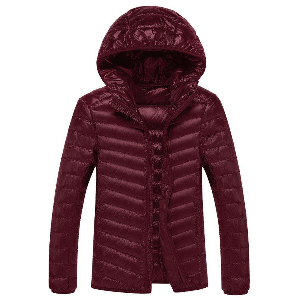 SWISSWELL Packable Lightweight Hooded Puffer Coat For Men Wine 2X-Large