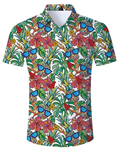 Loveternal 80s Hawaiian Shirts Mens Big and Tall Floral Aloha Shirt Tropical Monstera Leaf Plant Button Down Crazy Print Funky Hawaiian Shirts Resort Wear L