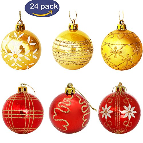Christmas Ball Ornaments, Luxury Collection Red and Gold Shatterproof Christmas Tree Ball Ornaments, 2.36