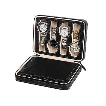 Estuche para caja de exhibición de relojes Caja de almacenamiento portátil con cremallera de cuero de ...