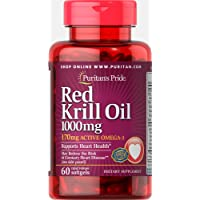 Puritans Pride Red Krill Oil 1000 Mg (170 Mg Active Omega-3) Softgels, 60 Count