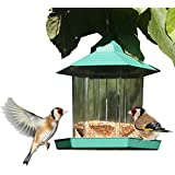 Gazebo Bird Feeder by PetsN'all - Transparent, Hanging Bird Feeder in Hexagon Shape - Protective Roof, Handles Up to 2.25 lbs