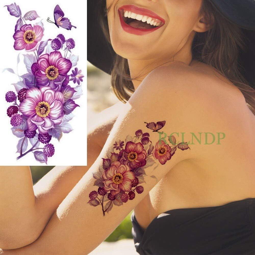 tzxdbh Impermeable Etiqueta engomada del Tatuaje Flor de la ...