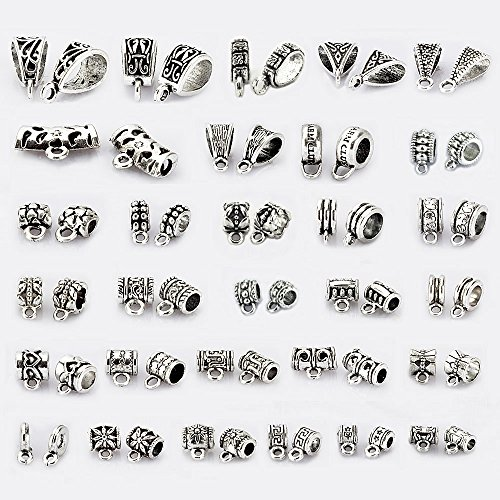 Pendant Connector (LolliBeads (TM) 150Pcs Mix Tibetan Silver Color Connectors Bails Beads fit European Charm Bracelet Pendant)