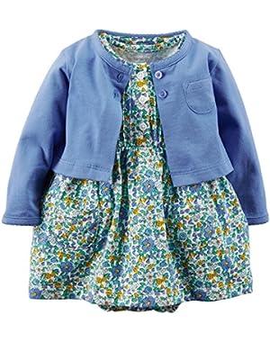 Carters Baby Girls' Polka Dot Cardigan Dress Set