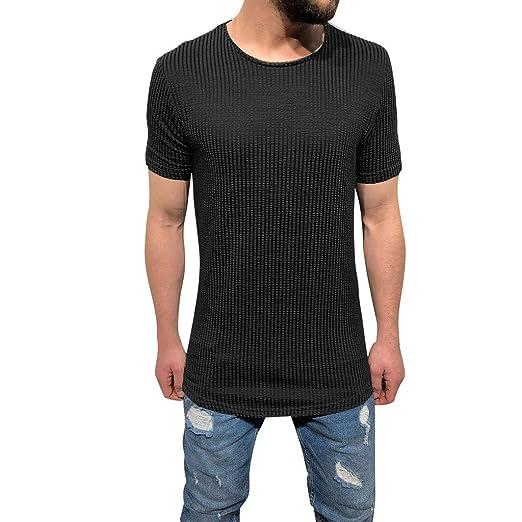 90ec8cb01196 Men's Striped Knit Slim Fit Long T-Shirt Short Sleeve Crew Neck Muscle Basic  Solid