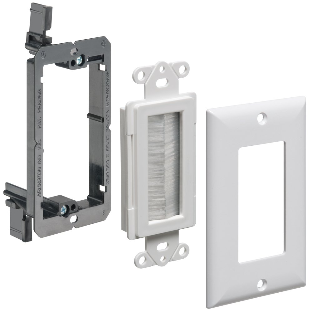 Arlington Industries LVCED135WP-1 Cable Entry Device with Brush-Style Opening, Low-Voltage Bracket and Wall Plate, 1-Gang, White, 1-Pack