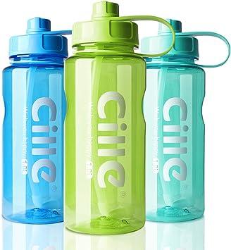 AOHAN Botella de agua de 1 L, botella de deporte para fitness ...