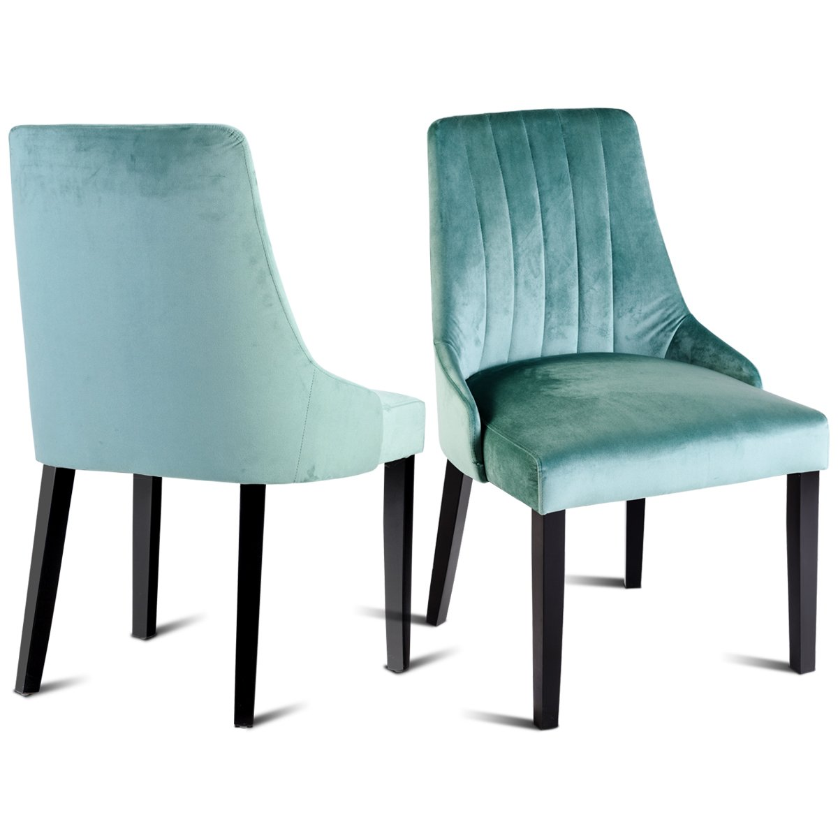 Giantex 2 PCS Velvet Dining Room Chair Set Upholstered Fabric Solid Wood  Structure Thick Padded Cushion Modern Style Back Home Kitchen Living Room  Furniture ...