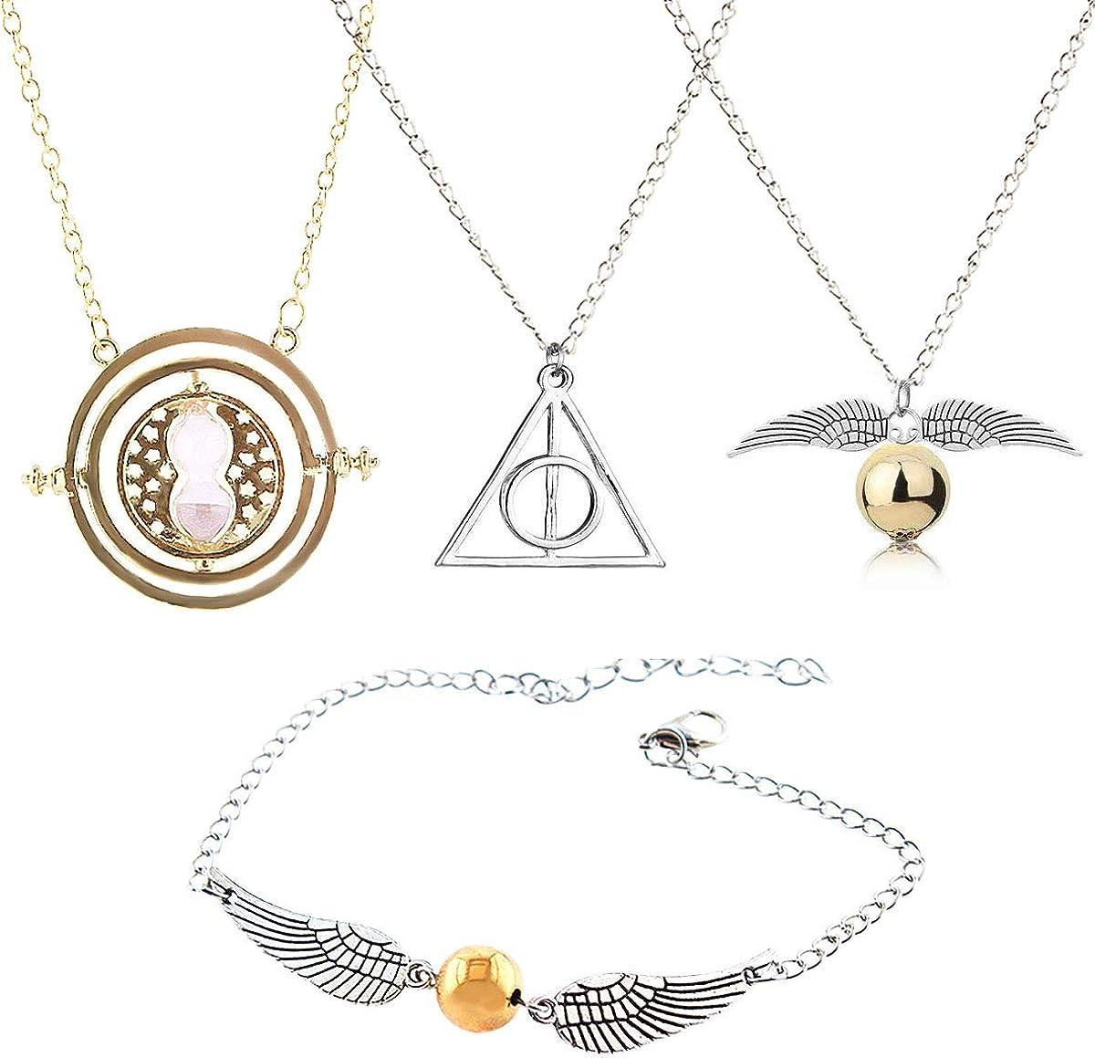GeeVen Collar de 4 piezas con colgante de cadena con dise/ño de las Reliquias de la Muerte de la Muerte de Snitch Time Turner para colecciones de regalos inspiradas en Harry
