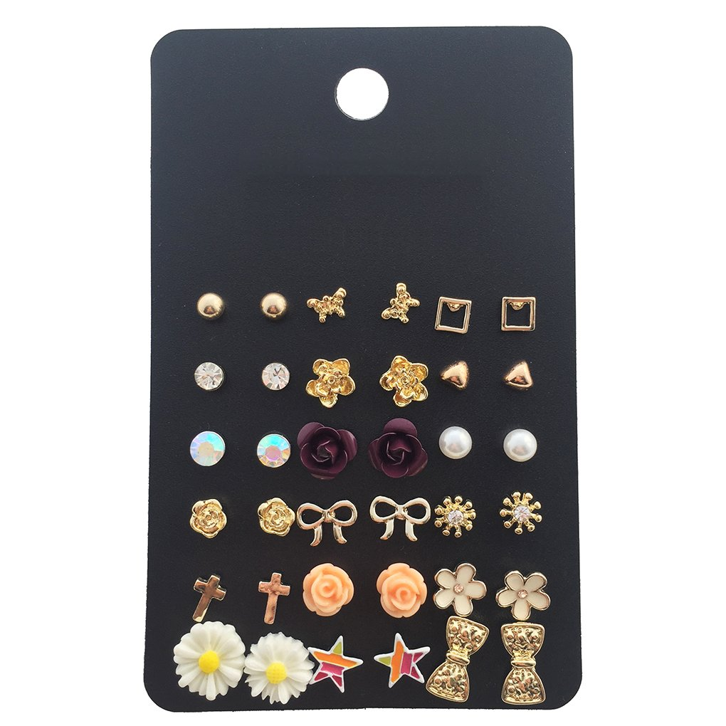 18 Pairs Assorted Multiple Studs Earring Set for Women Next Color MJPACK18-2
