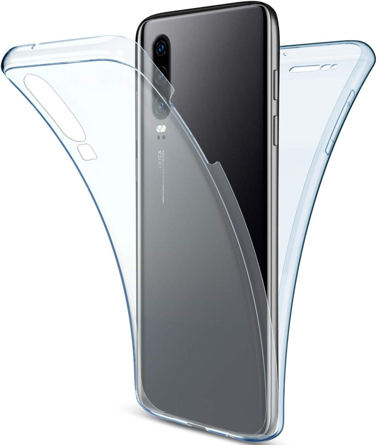 Ultra Delgado,azul Anti-Choque Saceebe compatible con Huawei P30 Funda Carcasa Silicona TPU Transparente Cristal Estuche de TPU 360 grados Anverso y reverso Flexible Silicona Cover