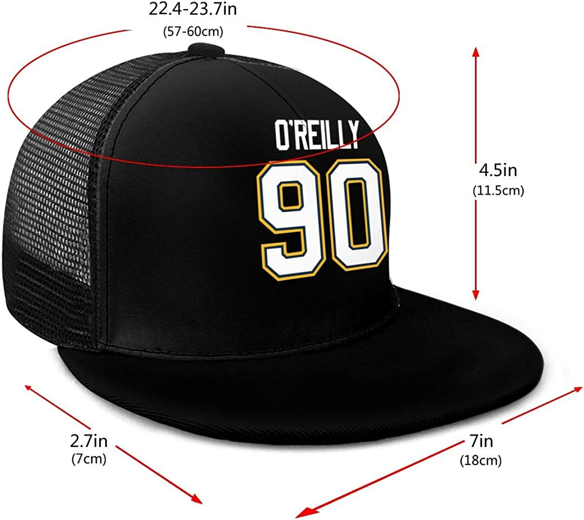 NNHL Unisex Adjustable Flat Mesh Hockey Baseball Cap Black