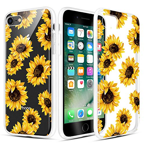 Caka iPhone 7 Case, iPhone 8 Clear Floral Case Flower Pattern Flower Series Slim Girly Anti Scratch Excellent Grip Premium Clarity TPU Crystal Case for iPhone 7 8 4.7 inch (Sunflower)