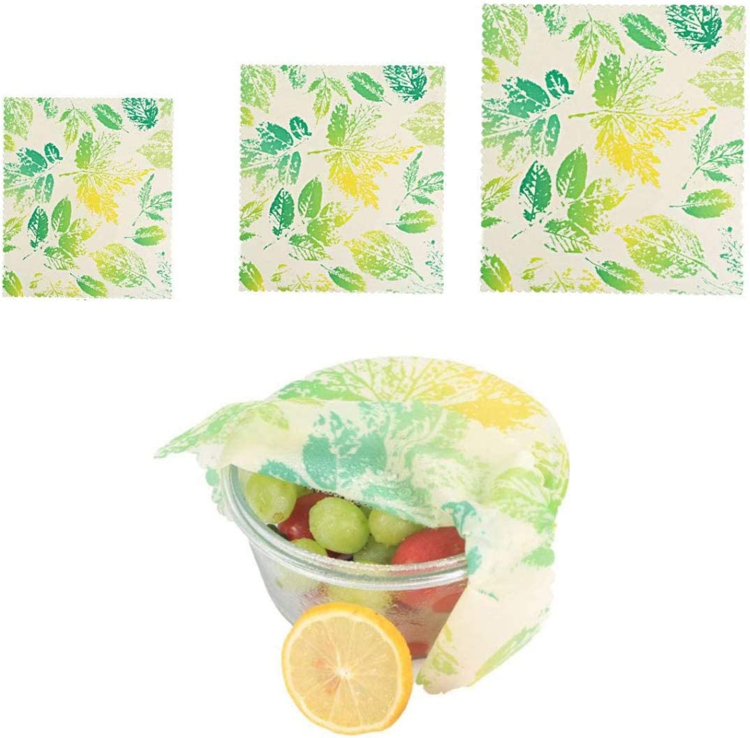Beeswax Wraps, Eco Friendly Sustainable Reusable Beeswax Food Wraps, Cover for Fruits and Vegetables and Bowls to Keep Fresh, Plastic Free Alternative for Food Storage - 1S, 1M, 1L