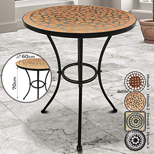 Mesa Mosaico Redonda - Ø/Altura: 60x70cm, Rojo-Blanco, Ceramica, Robusta y Estable - de Jardin, Balcon, Terraza