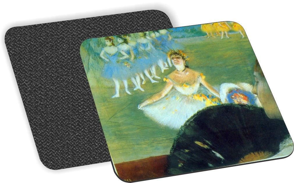 Rikki Knight Edgar Degas Art Dance with Bouquet Design-Soft Square Beer Coasters (Set of 2), Multicolor