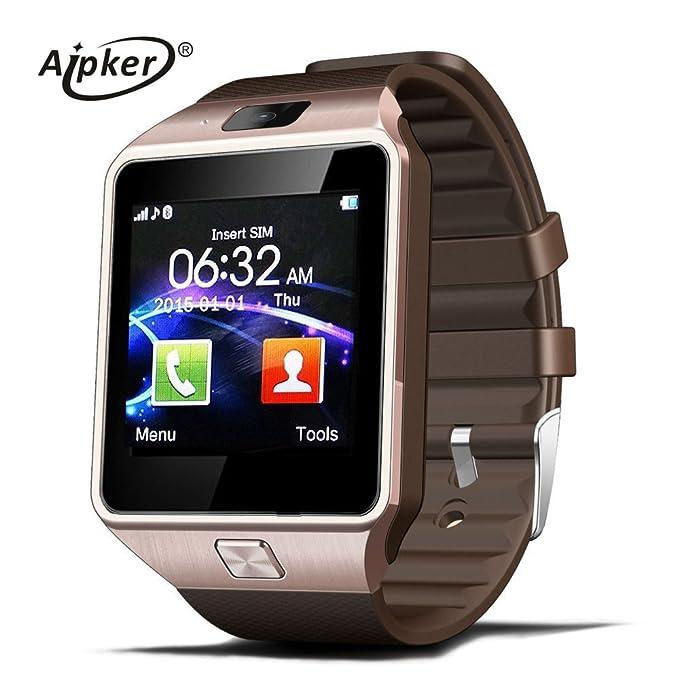 aipker DZ09 reloj inteligente pantalla táctil bluetooth muñeca con tarjeta SIM Cámara para Samsung Android Iphone