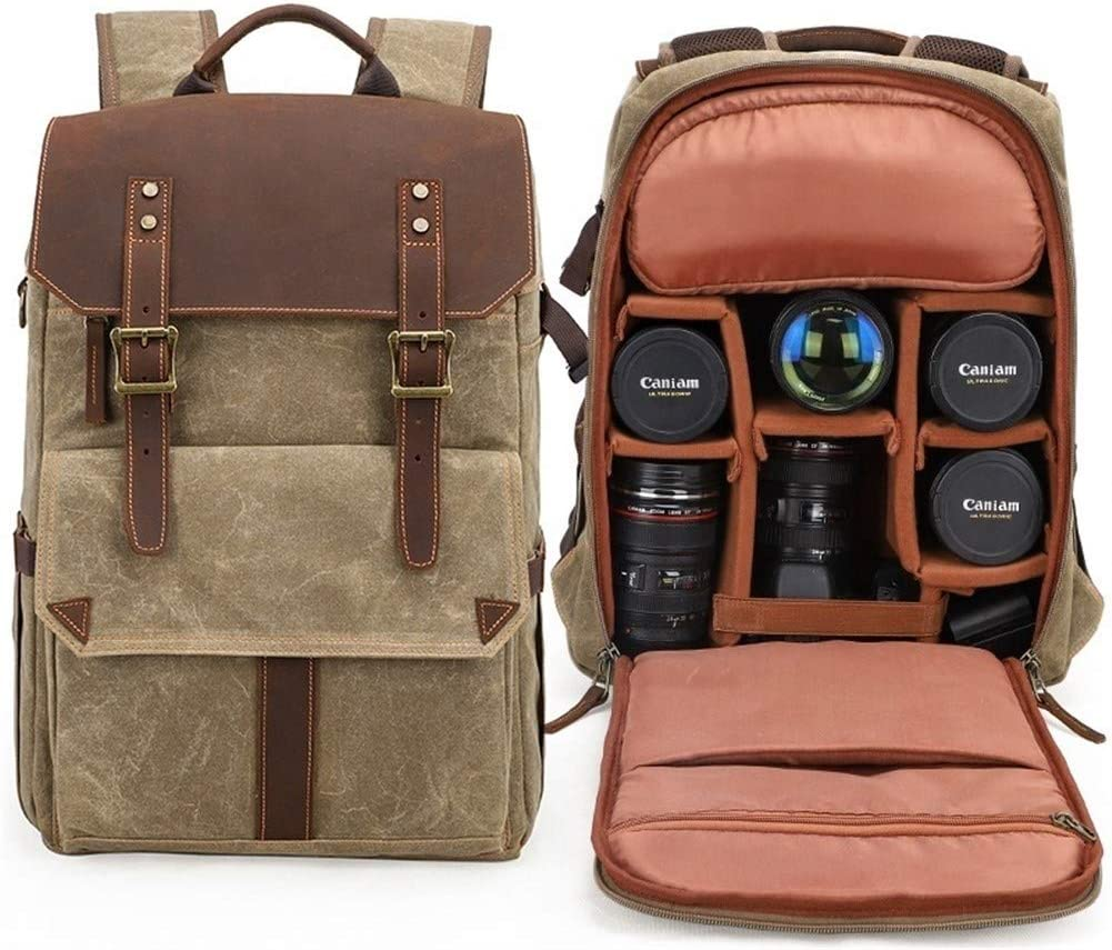 Color : Khaki, Size : 12 inches XM-mens bag Cozy Vintage Canvas Wallet Fashionable Daily Wallet Travel DSLR Camera Compatible for Lens Tripod Sturdy