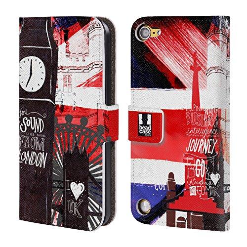 Head Case Designs Silhouttes I Love London Cover a portafoglio in pelle per iPod Touch 5th Gen / 6th Gen