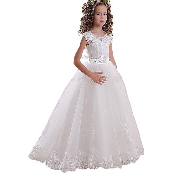 Portsvy Vestido De Primera Comunión Para Niña Con Diseño De Flor En Forma De A Para Bodas O Princesas Fb11