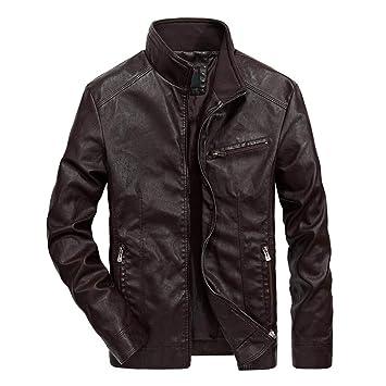 Hombre y niños chaqueta piel Delgado otoño,Sonnena ⚽ hombre casual moda chaqueta cuero de