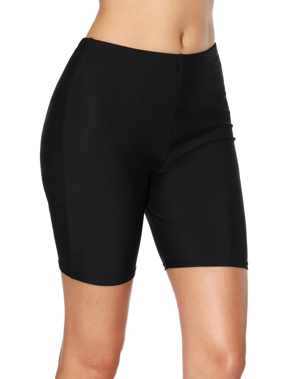 vivicoco Black Long Swim Shorts for Women Boardshorts Swimsuit Tankini Bottoms L
