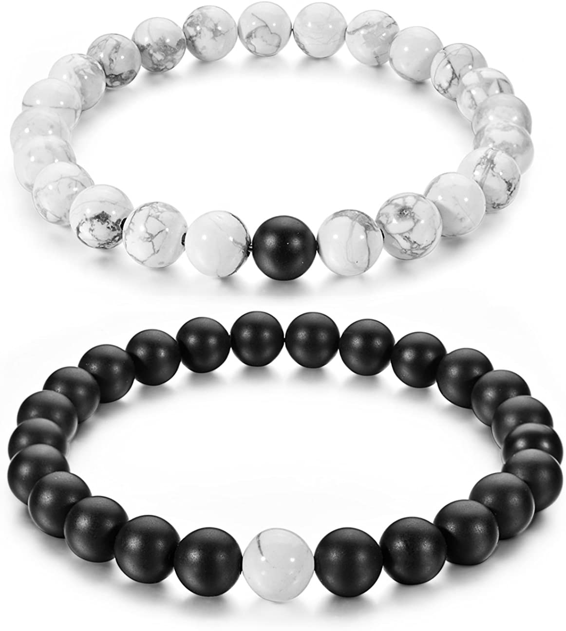 Couples His and Hers Bracelet Black Matte Agate & White Howlite 8mm Beads By Long Way 7.1