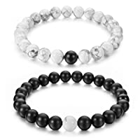 """Couples His and Hers Bracelet Black Matte Agate & White Howlite 8mm Beads By Long Way 7.1""""&7.5"""""""