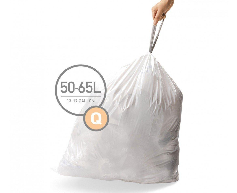 simplehuman Code Q Custom Fit Drawstring Trash Bags, 50-65 Liter / 13-17 Gallon, 12 Refill Packs (240 Count) by simplehuman
