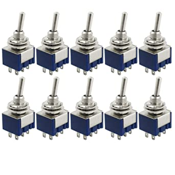 yueton 10 pcs ac 125v 6a amps on/on 6 terminals 2 position dpdt toggle  switch: amazon com: industrial & scientific