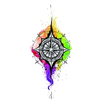 1149f1c81 Amazon.com : WYUEN 5 PCS Watercolor Compass Women Body Temporary Tattoo  Sticker Men Fake Tattoo Stickers Kids Body Art 9.8X6cm T-036 : Beauty
